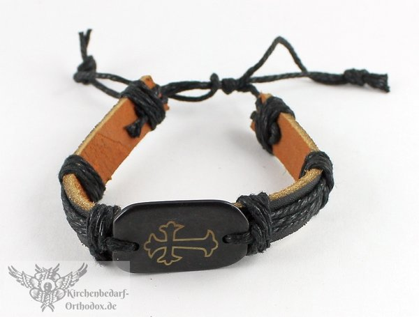 Leder Armband Mit Hämatit Und Kreuz Kaufen Bei Kirchenbedarf